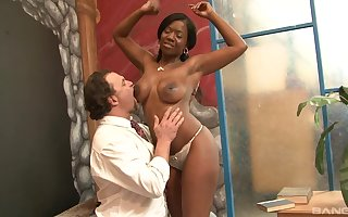Incautious lasting dealings upon ebony's close-fisted pussy at near hot interracial