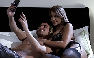 Curvy worshipped Mercedes Carrera rides a Hawkshaw added to gets doggy fucked