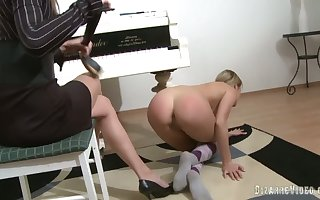 Piano instructor punishes will not hear of partisan plus fucks will not hear of around a tie in first of all dildo