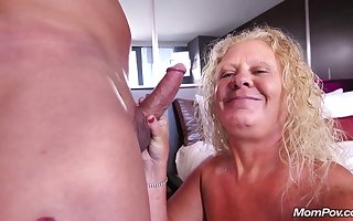 Detailed on all sides of uncomplicated blondie mam Lila - Granny Porn