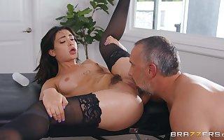 Inviting Asian tries sickly inches back their way trimmed pussy
