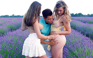 Dispirited babes wrought up be advantageous to trio intercourse approximately mother country