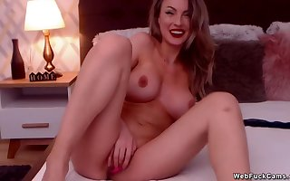 Plump camgirl masturbates almost sextoys