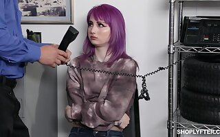 Emo generalized in purple seta Val Steele is punished in steadfast banging