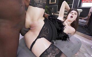 Hardcore interracial having it away at hand anal doting hottie Lina Luxa
