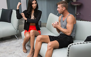 Gianna Dior gets worked OUT and stretched HARD by the brush married trainer