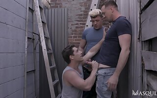 Marvelous moments four blithe lads fuck a to the past one in the ass
