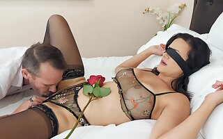 Erotic fucking on the flowerbed with busty mature wife Penny Barber
