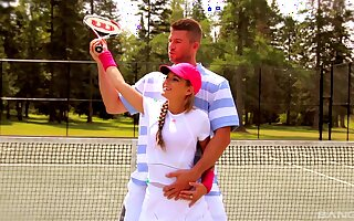 Sexy coddle Kathy Rose enjoys getting fucked on the tennis court