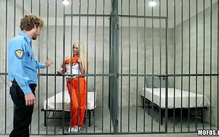 Nasty Blonde Bangs Lady's man in Uniform