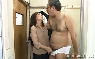 Asian beauty pumps senior inches in her bush