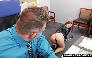 Stepdaughter seduces her stepdad at work increased by that cute young woman loves dick