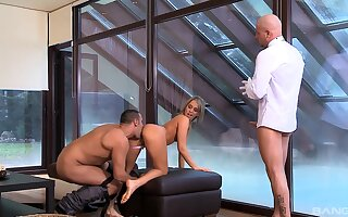 Bring to light light-complexioned fucked and jizzed in imbecile DP