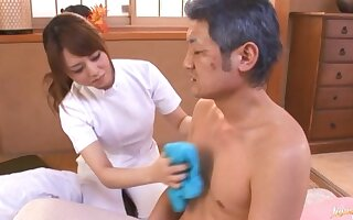 Lucky man gets his Hawkshaw stroked and sucked by sexy Akiho Yoshizawa