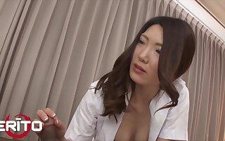 Incomparable Japanese Milf Nurse Rides Patient's Cock